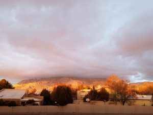 Sunset of the Sandias from my apartment