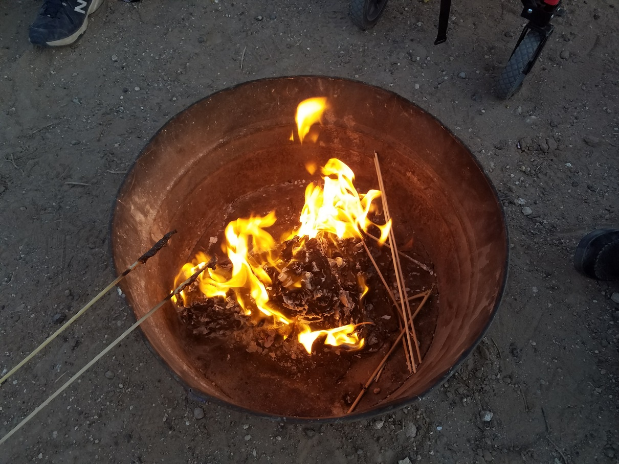 The fire is hot and ready for the marshmallows